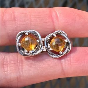 David Yurman Sterling Infinity Earrings w/ Citrine